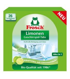 Indaplovių tabletės Frosch, citrinų kvapo, 26vnt