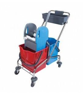 Dviejų talpų valymo vežimėlis, 2x18L