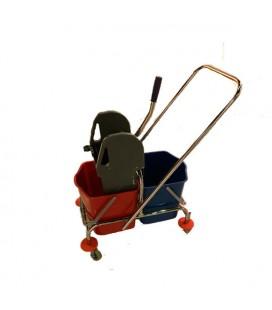 Chromuotas dviejų kibirų vežimėlis 2x15l